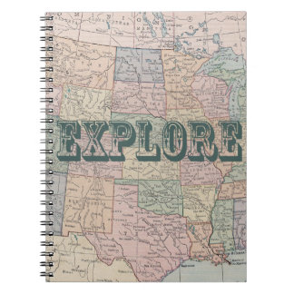 Explore - Vintage map quotes Notebooks