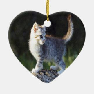 Explorer Kitty Ceramic Heart Decoration