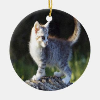 Explorer Kitty Round Ceramic Decoration