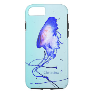 Explorer Ocean Blue Jellyfish Light Teal Custom iPhone 7 Case
