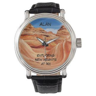 Exploring New Heights Wrist Watch, 70th Birthday Watch