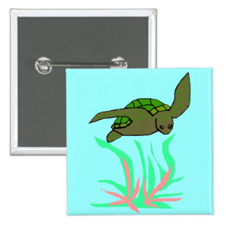 Exploring sea turtle  button