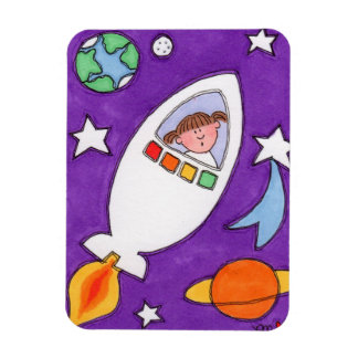 "Exploring The Galaxy Rocketship 3""x4"" Photo Magnet"