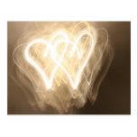 Exploring the light: hearts postcard
