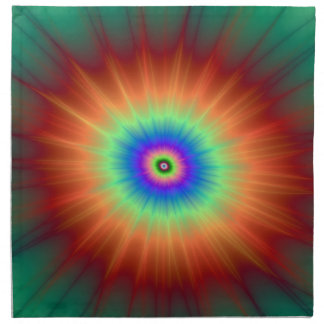 Explosion in Orange Green and Blue Napkin