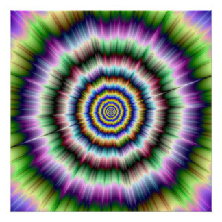 Explosion in Violet Green and Blue Perfect Poster