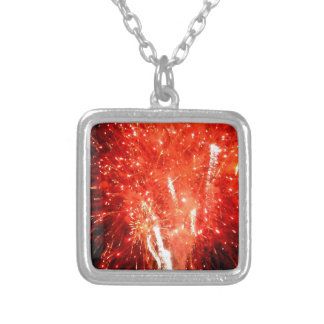Explosion Red Silver Plated Necklace