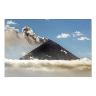 Explosive erupting Klyuchevskoy Volcano. Kamchatka Photo Print