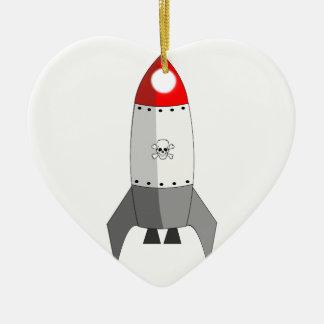 Explosive Rocket Ceramic Heart Decoration