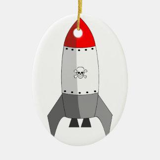 Explosive Rocket Ceramic Oval Decoration