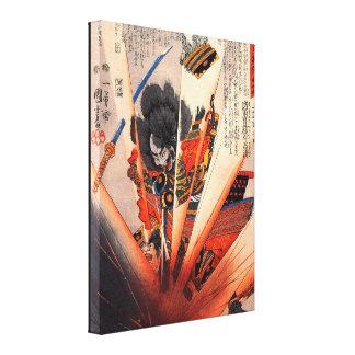 Explosive Samurai Painting circa 1800s Gallery Wrapped Canvas