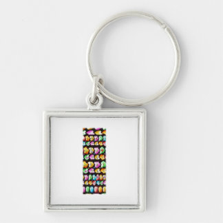 Express Personality n Identity - Alpha I II III Silver-Colored Square Key Ring