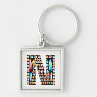 Express Personality n Identity - Alpha N NN NNN Silver-Colored Square Key Ring
