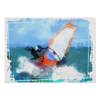 Expressionist Orange Sail Windsurfer Poster