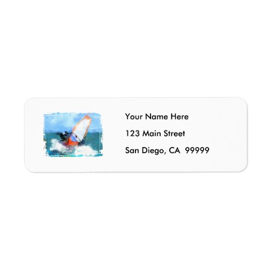 Expressionist Orange Sail Windsurfer Return Address Label