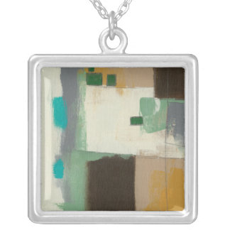 Expressionist Painting with Heavy Brush Strokes Silver Plated Necklace