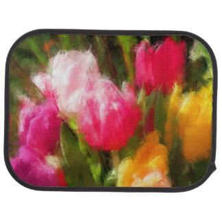 Expressionistic Spring Tulip Explosion Car Mat