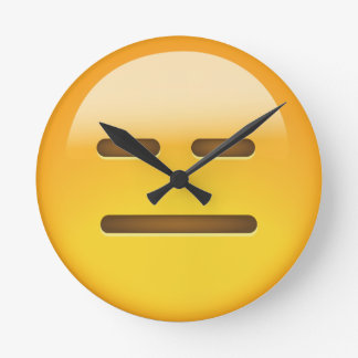 Expressionless Face Emoji Round Clock