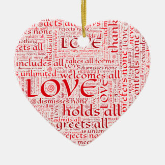 Expressions of unconditional love in word art christmas ornament