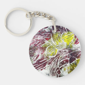 Expressive Abstract. Autumn Leaves. Key Ring