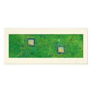 Expressive little birds - still learning - fun art 10 cm x 24 cm invitation card