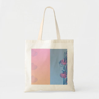 Expressive pink hearts and blue floral bags