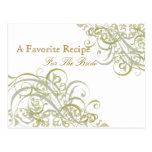 Exquisite Baroque Gold Bridal Shower Recipe Card Postcards