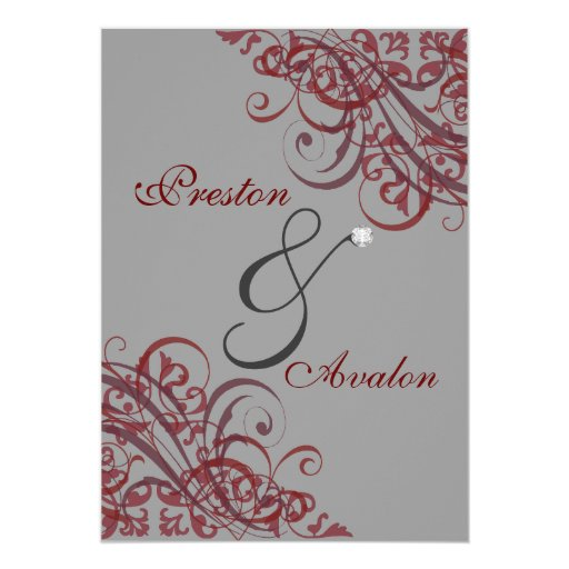 Exquisite Baroque Red Scroll 5x7 Invitation