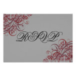 Exquisite Baroque Red Scroll RSVP Card Personalised Invite