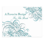 Exquisite Baroque Teal Bridal Shower Recipe Card Post Cards