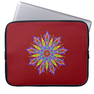 Exquisite beaded mandala star on deep red laptop sleeve