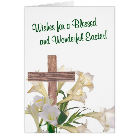 Exquisite! Easter Lilies & Wooden Cross Card