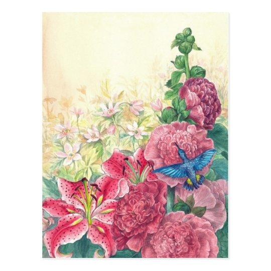Exquisite florals & hummingbird watercolor,custom postcard