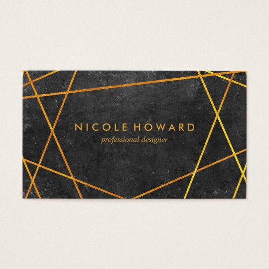 Exquisite Gold Lines Black with Slate Business Card
