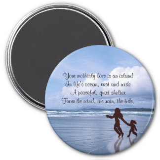 Exquisite Silhouette Mother & Daughter at  Beach 7.5 Cm Round Magnet