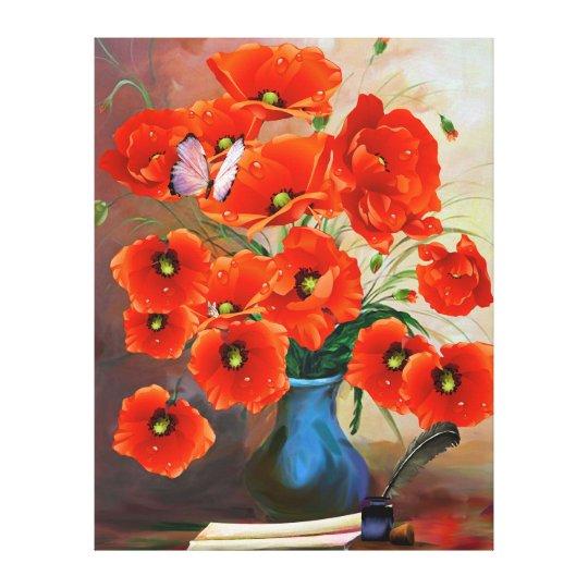 Exquisite Still Life Poppies Canvas Print