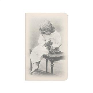 Exquisite vintage image girl & cat notebook