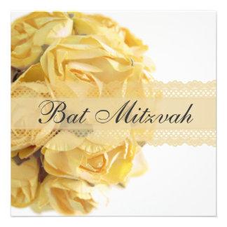 Exquisite Yellow Roses Bat Mitzvah Invitation
