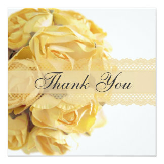 Exquisite Yellow Roses Thank You Card 13 Cm X 13 Cm Square Invitation Card