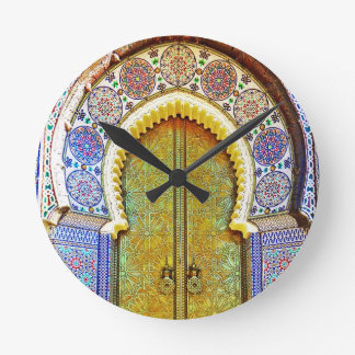 Exquisitely Detailed Moroccan Pattern Door Round Clock
