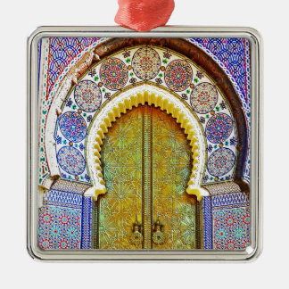 Exquisitely Detailed Moroccan Pattern Door Silver-Colored Square Decoration