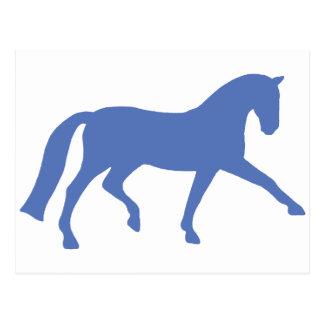 Extended Trot Dressage Horse blue Postcards