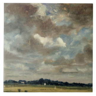 Extensive Landscape with Grey Clouds, c.1821 (oil Tile