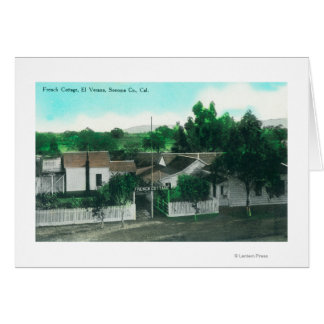 Exterior Aerial View of French Cottage Card