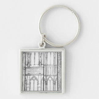 Exterior and Interior Silver-Colored Square Key Ring