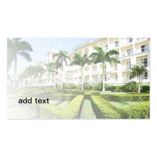 exterior of an upscale resort building pack of standard business cards