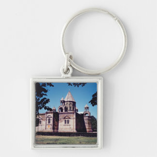 Exterior of Etchmiadzin Cathedral Silver-Colored Square Key Ring