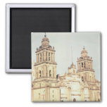 Exterior of Mexico City Cathedral Square Magnet