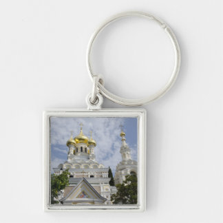Exterior of Saint Alexander Nevsky Cathedral 2 Silver-Colored Square Key Ring