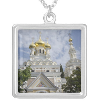 Exterior of Saint Alexander Nevsky Cathedral 2 Silver Plated Necklace